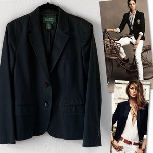LAUREN RALPH LAUREN BLACK STRETCH BLAZER SZ 10